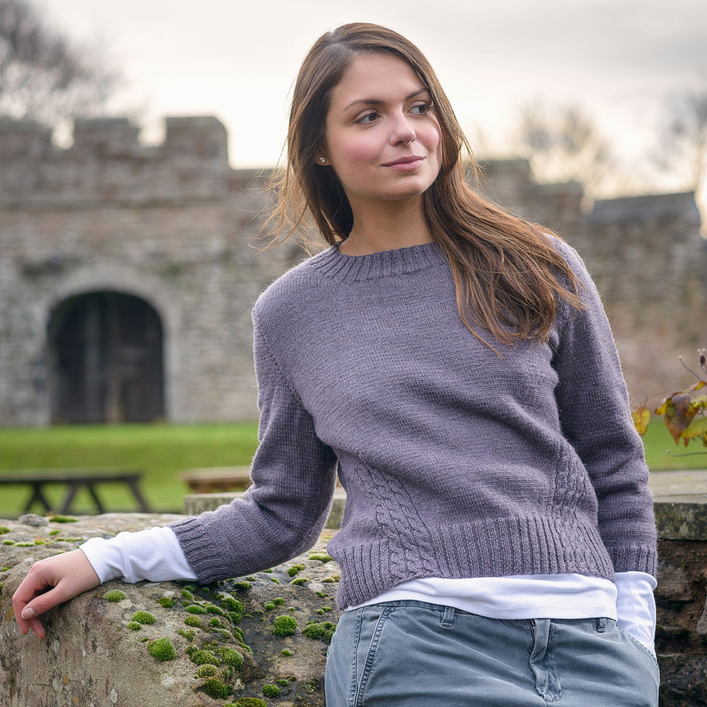 Knitting patterns using The Fibre Co. Cumbria Fingering - Traveling Cable Sweater