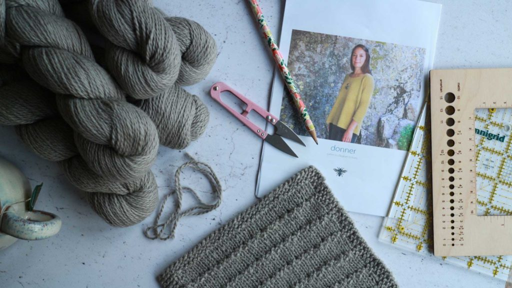 Donner by Elizabeth Doherty swatch knit in The Fibre Co. Luma