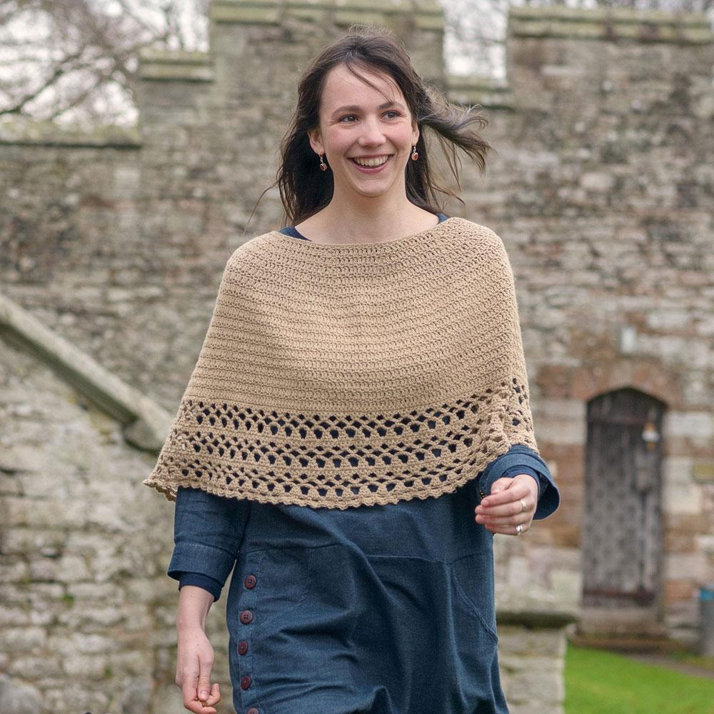 Crochet Poncho knit in The Fibre Co. Luma