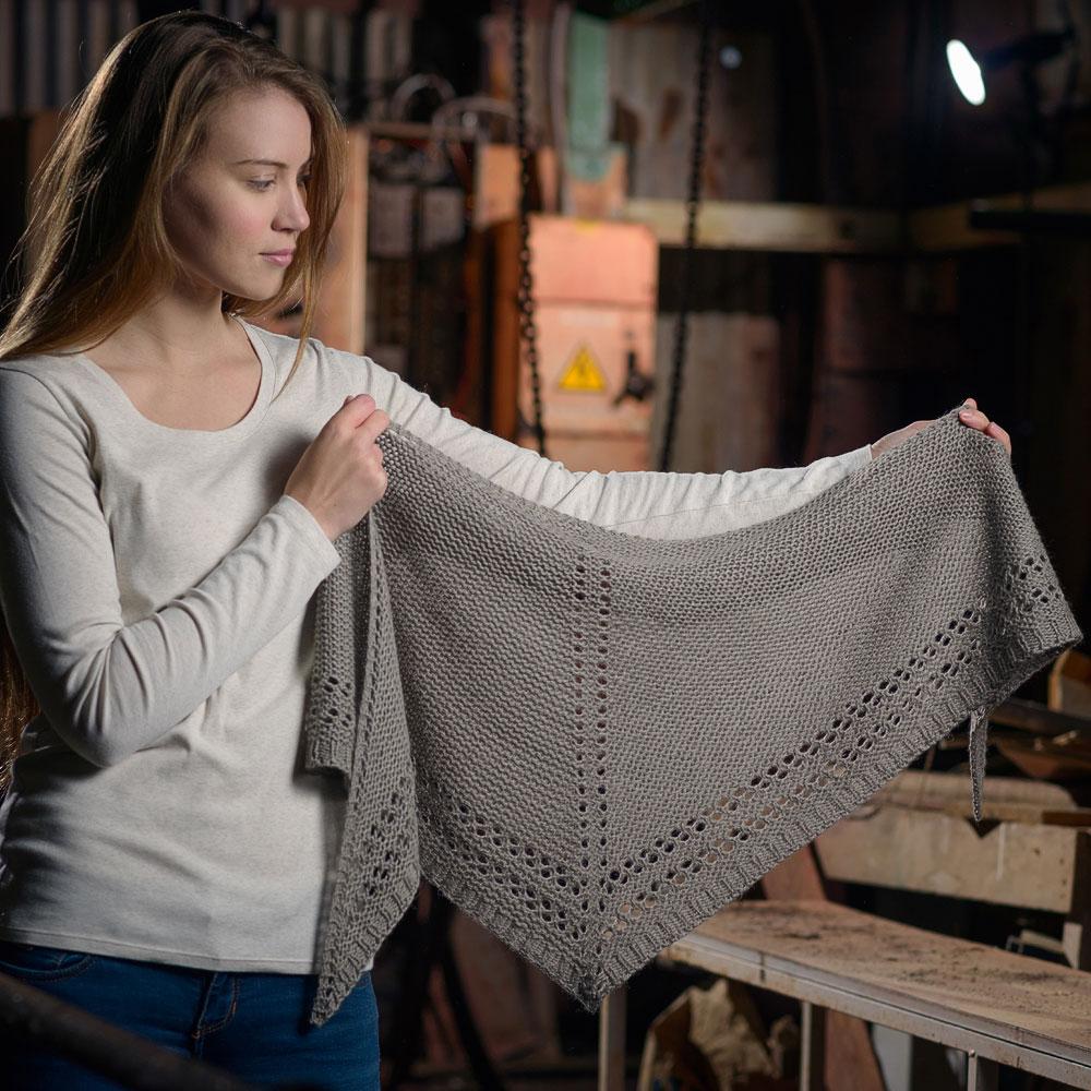 Eyelet Shawl - Simple patterns knit using The Fibre Co. Luma