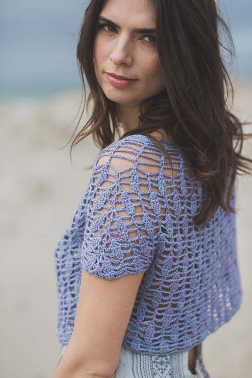 Lilac lace cropped cardigan in crochet
