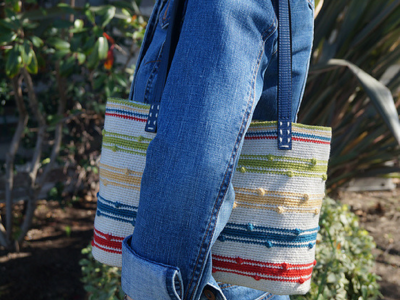 Striped crochet tote bag with bobbles and leather handles