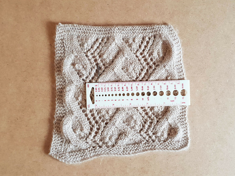 Beige lace swatch knitted in Road to China Lace