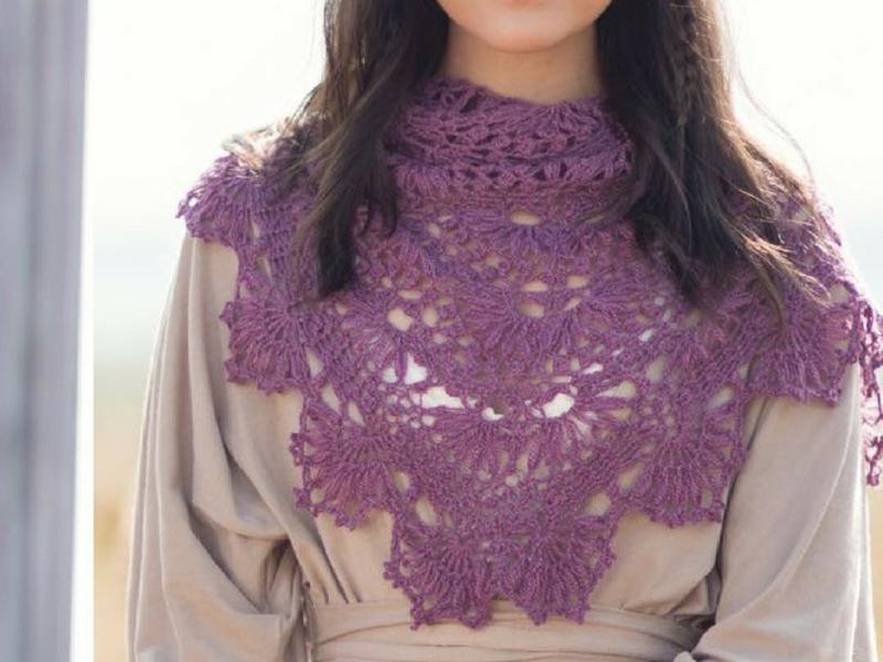 Crochet purple lace triangle shawl
