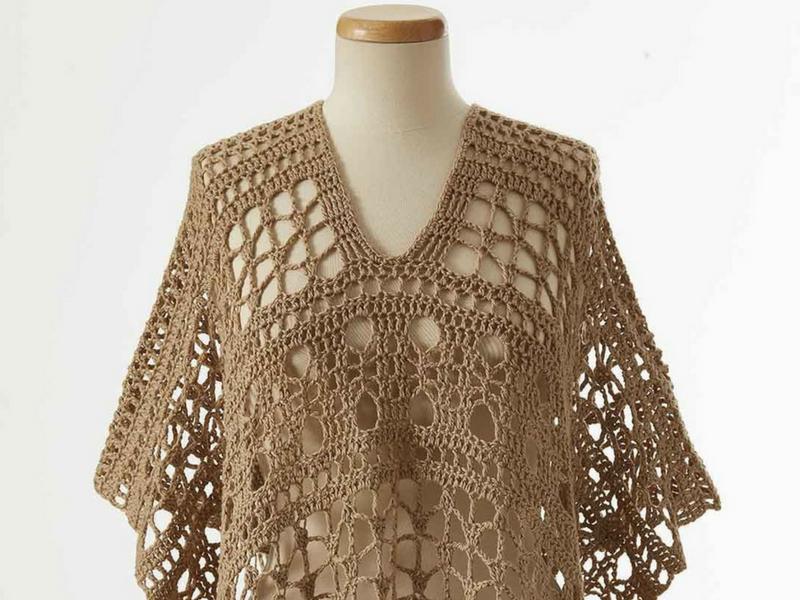 Crochet lace beach poncho in tan brown