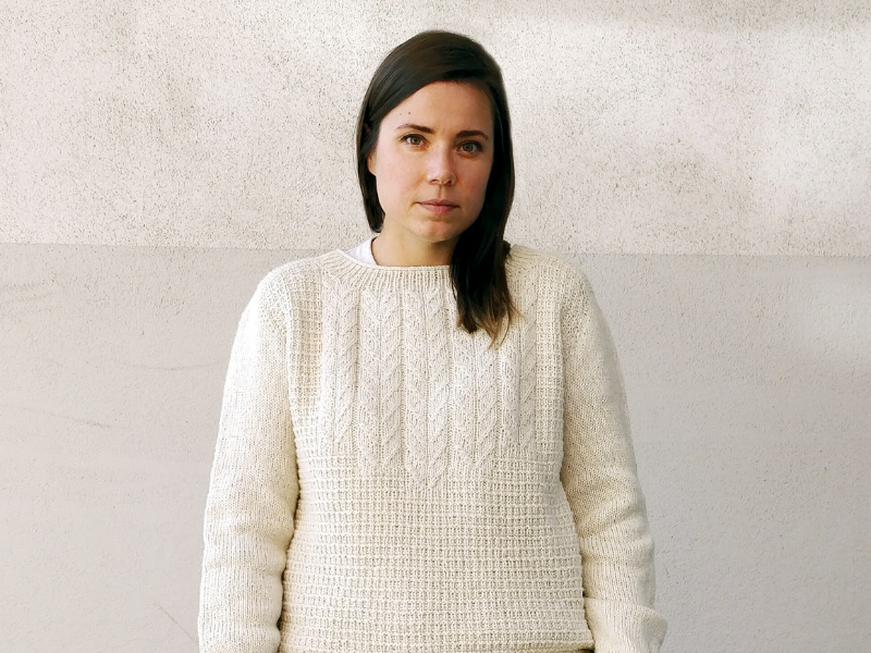 Sari Nordlund wearing Brandelhow sweater by Natasja Hornby in The Fibre Co. Lore in Logical