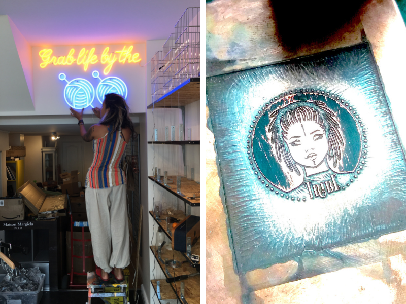 Milli setting up neon yarn shop sign and Tribe Yarn's logo