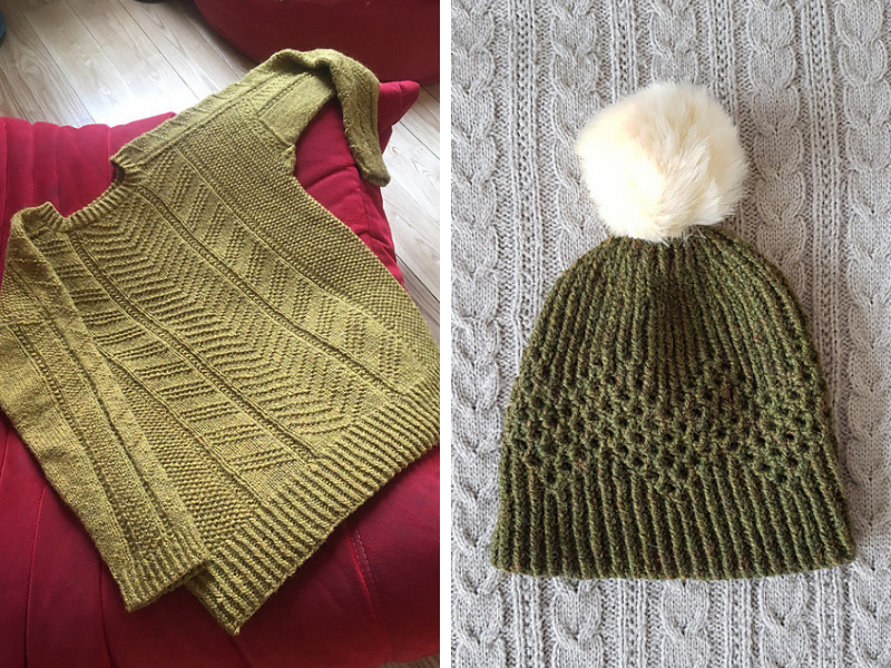 Mustard Mr Rochester Sweater and Green Mendia Hat