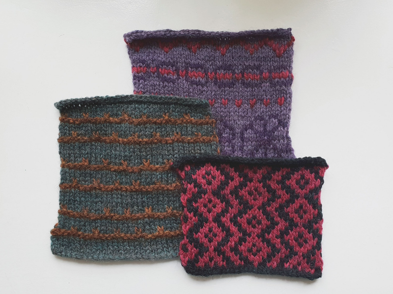 Colourwork swatches in new Lore colours