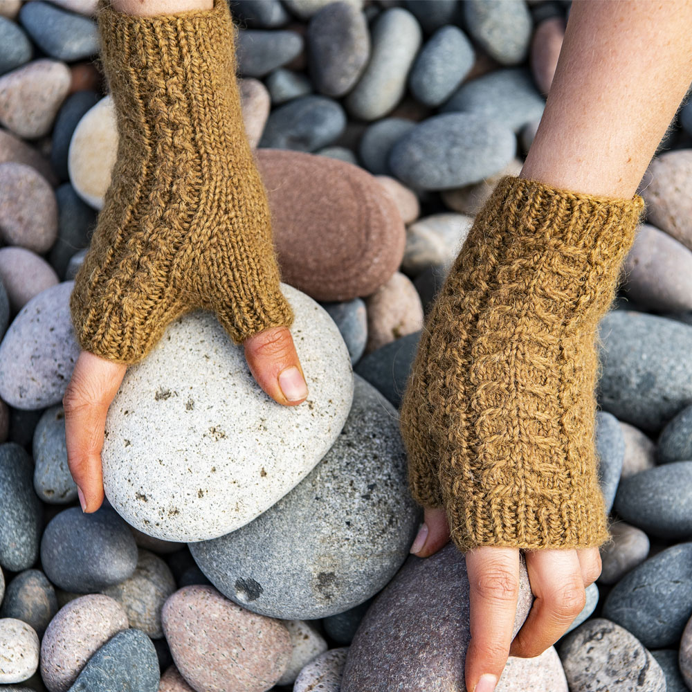 Short Cabled Mitts in Golden Tan Colour