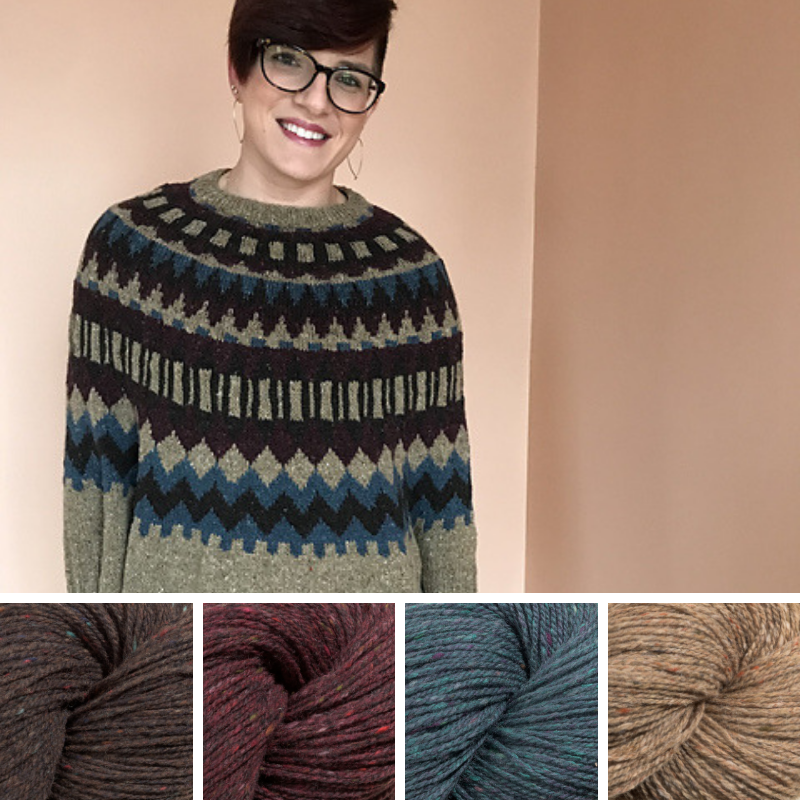Woman wearing colourwork sweater in brown, maroon, mid-blue and beige