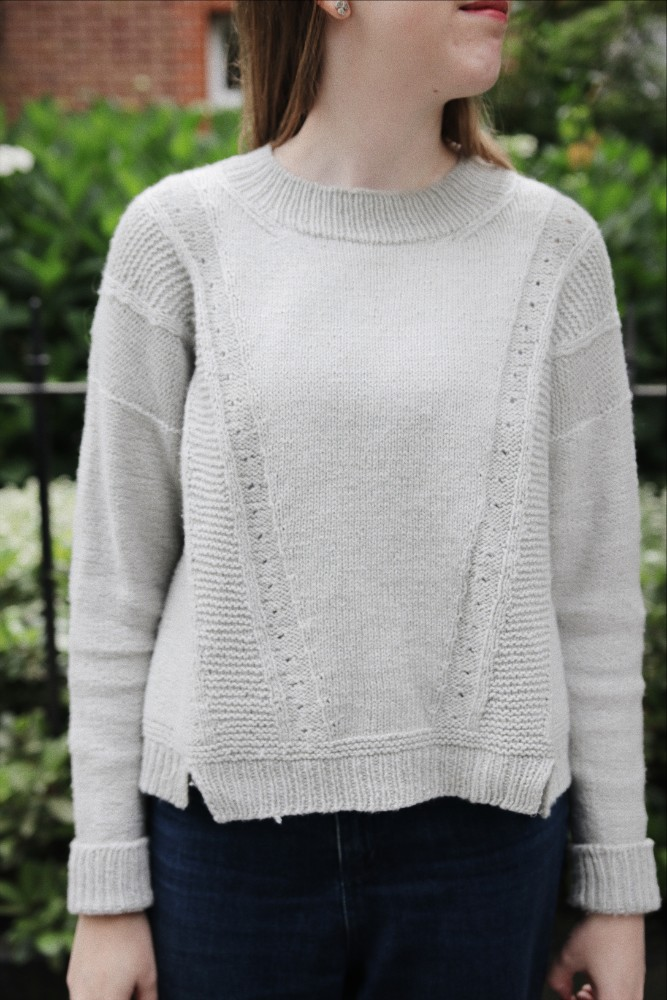 Tarragon sweater knitting pattern by Clare Mountain knit using The Fibre Co. Luma