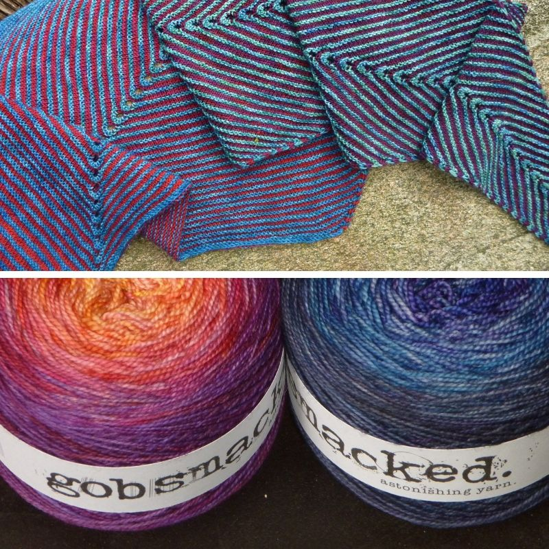 1. a brioche shawl in varying shades of blue and purple is draped on some stone 2. two cakes of Gobsmacked colour changing yarn are on a black background
