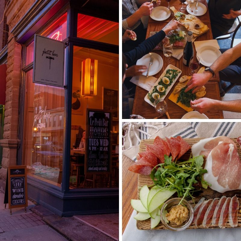 1. Cosy looking outside of Le Petit Bar 2. Overhead view of a table laden with cheese and charcuterie 3. Close up of a food platter with charcuterie, salad and apple slices