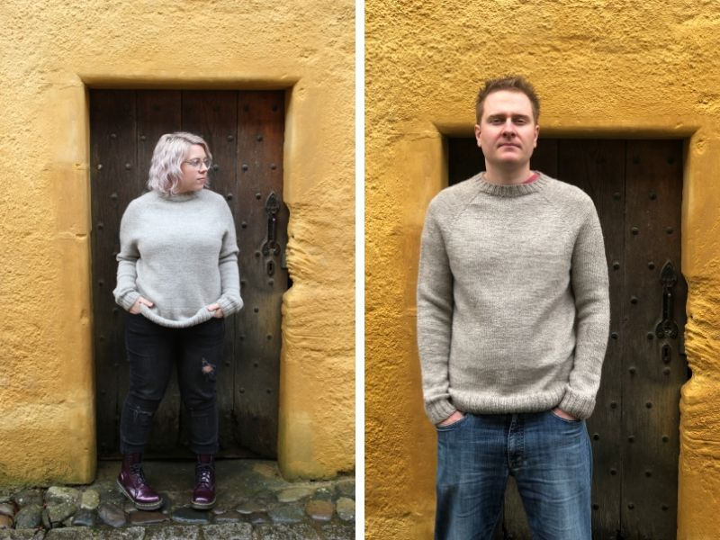 Becky Baker and her husband Lewis stand in front of the same wooden door. They are wearing a One Sweater in the same size, but they have styled it totally differently. Becky is wearing it slouchy whilst Lewis looks more traditional.
