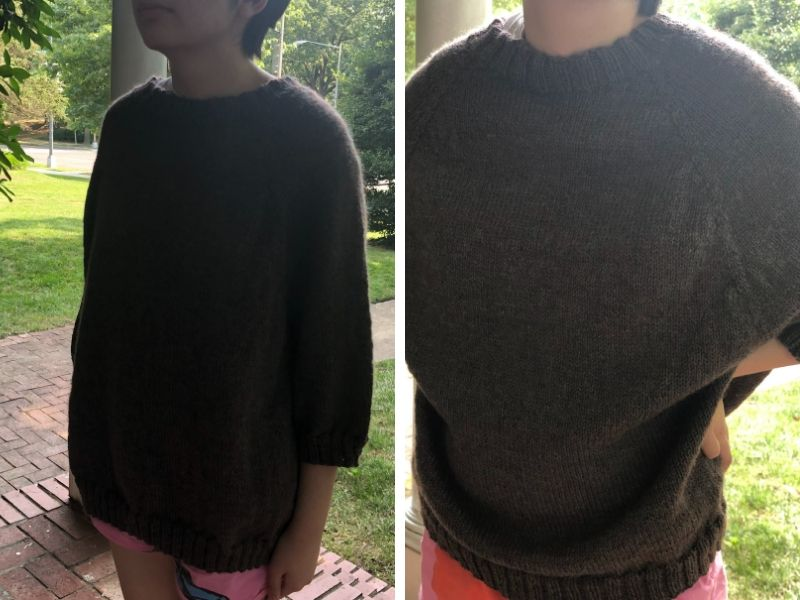 HyeSook's daughter is wearing a modified version of One Sweater in a multi-tonal brown colour. It has short sleeves and looks very slouchy and cool.   Introducing One Sweater: a Wardrobe Classic in Cumbria