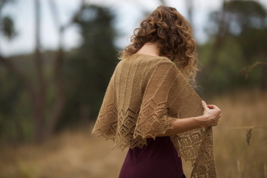 Miramis, lace shawl knitting pattern by Nim Teasdale.