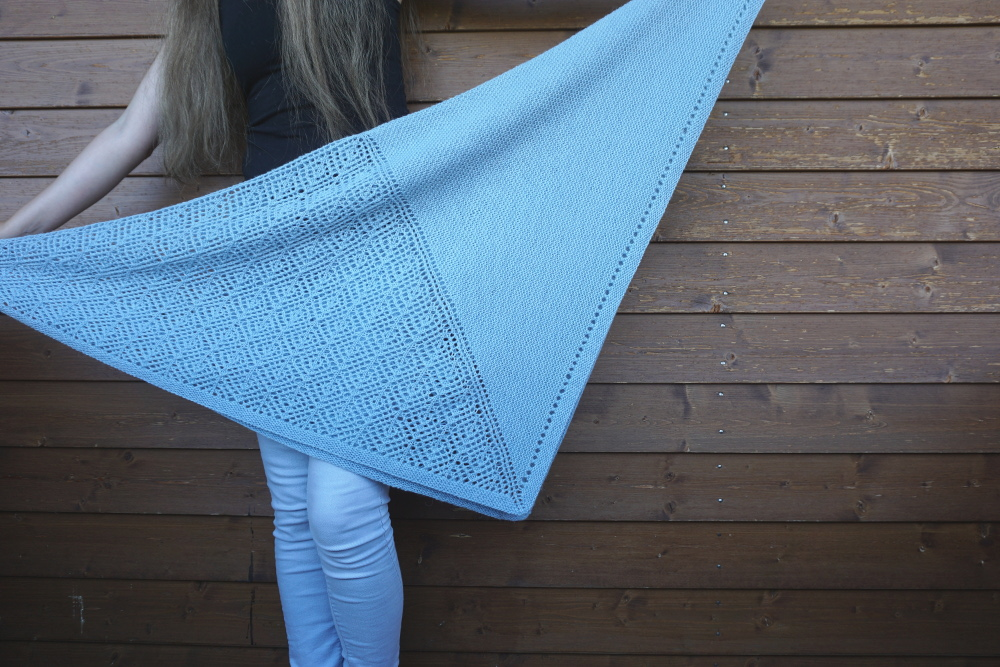 Mountain Top Shawl, Square shawl knitting pattern by Asita Krebs