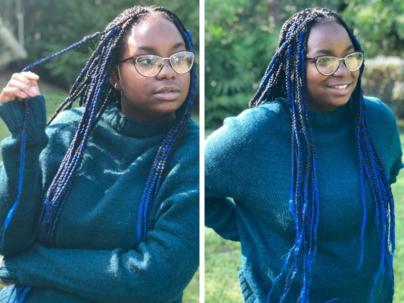Marceline's daughter is wearing a One Sweater in mid-blue. It is super slouchy and cosy looking!   Intorducing One Sweater: a Wardrobe Classic in Cumbria