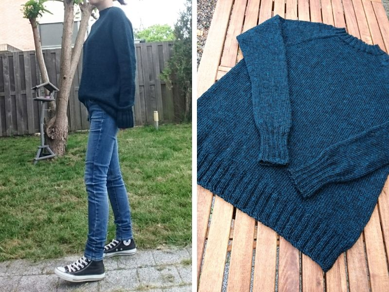Tomomi is wearing her deep teal One Sweater in a boyfriend style, very slouchy and oversized. It drapes beautifully! | Introducing One Sweater: a Wardrobe Classic in Cumbria