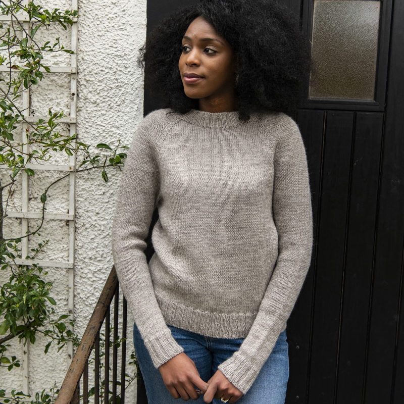 Joy wearing a One Sweater in The Fibre Co. Cumbria shade Scafell Pike
