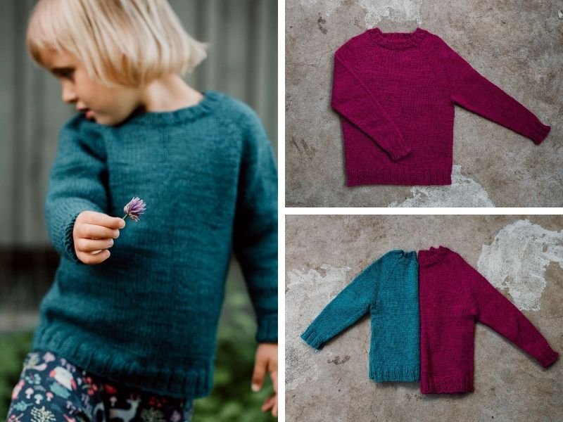 Lotta's child is wearing a turquoise sweater and holding out a sweet little flower. There is also a picture of another larger sweater in fuschia. The colours look wonderful togeher. | Introducing One Sweater: a Wardrobe Classic in Cumbria