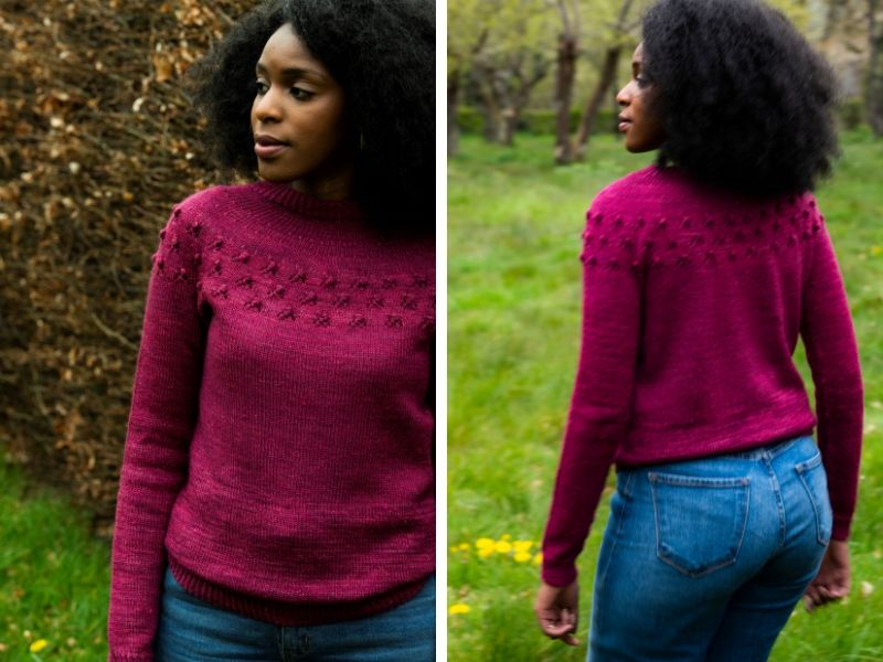 Front and back of the Wythop Sweater by Sari Nordlund. It has a rosebud lace motif around the yoke.