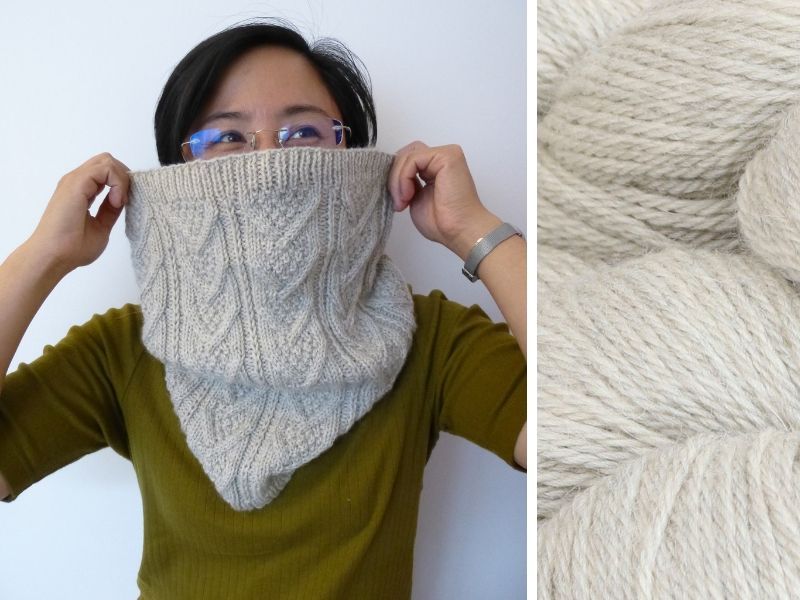 Alexandra is wearing the Dubwath cowl in cream.