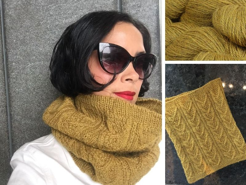 Georgette is wearing the Dubwath cowl in mustard yellow.