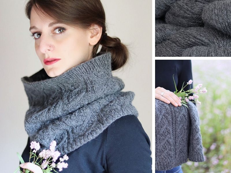 Julie is wearing a Dubwath cowl in mid-grey.