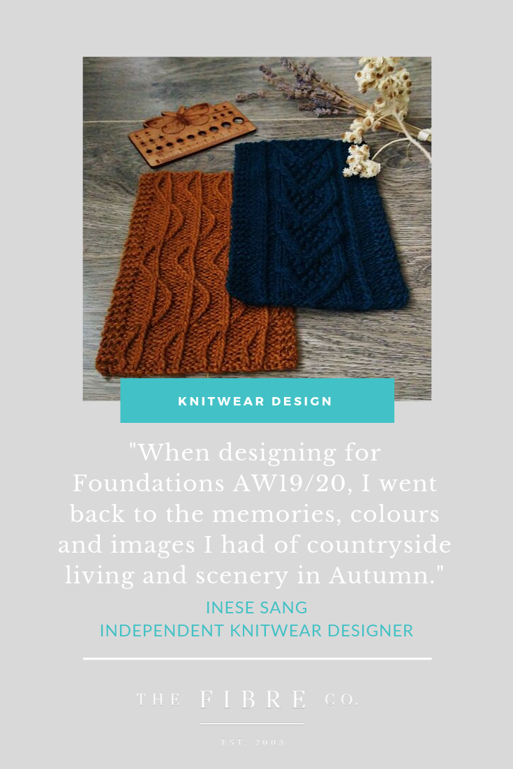 Graphic with two swatches for Dubwath and Lord's Seat on a wooden background. The text says: When designing for Foundations I went back to the recollections, colours and images I had of countryside living and scenery in autumn.