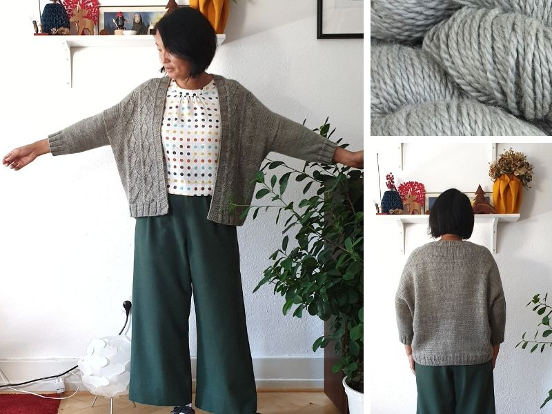 Tania is wearing an Ullock cardigan in pale grey.