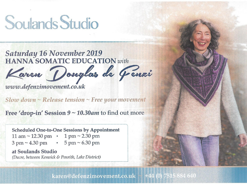 Flyer with details of Karen's Hanna Somatics event. Click on this to be redirected to her events page for more details.