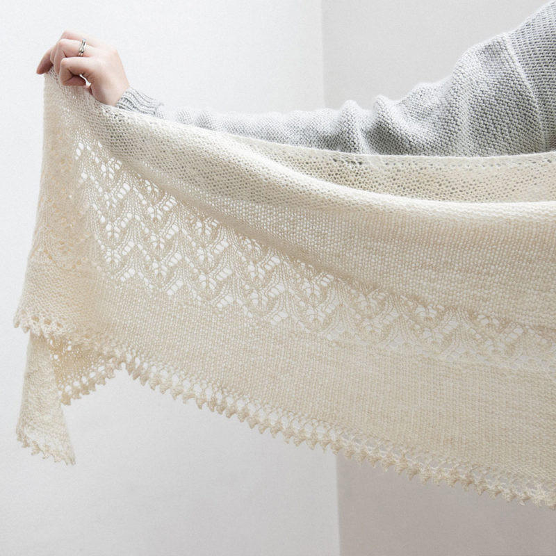 Garter and lace short row crescent shawl in cream