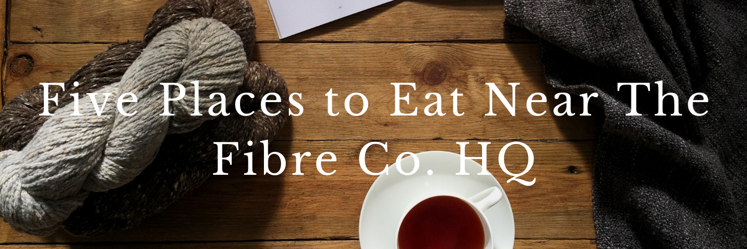 Graphic saying: Five Places to Eat Near The Fibre Co.