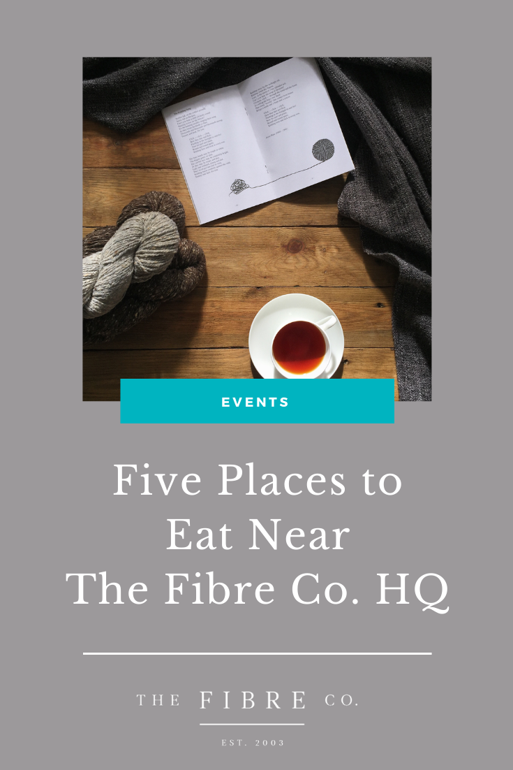Graphic that says: Five Places to Eat Near The Fibre Co. HQ