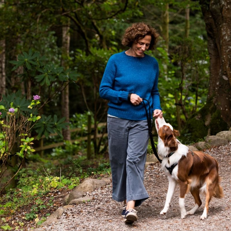 Our founder Daphne is walking her dog, a border collie called Arlo. She is wearing a One Sweater DK in Acadia in an electric blue colour.