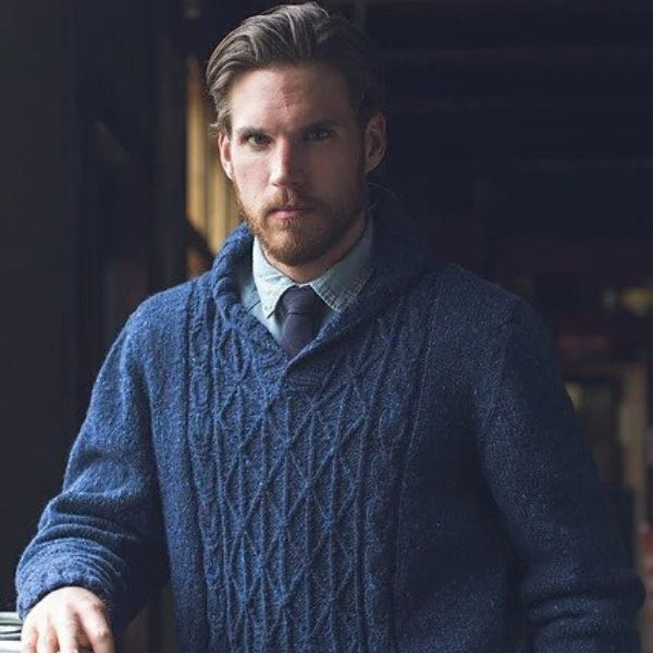 Shawl-Collared Men's Sweater Pattern