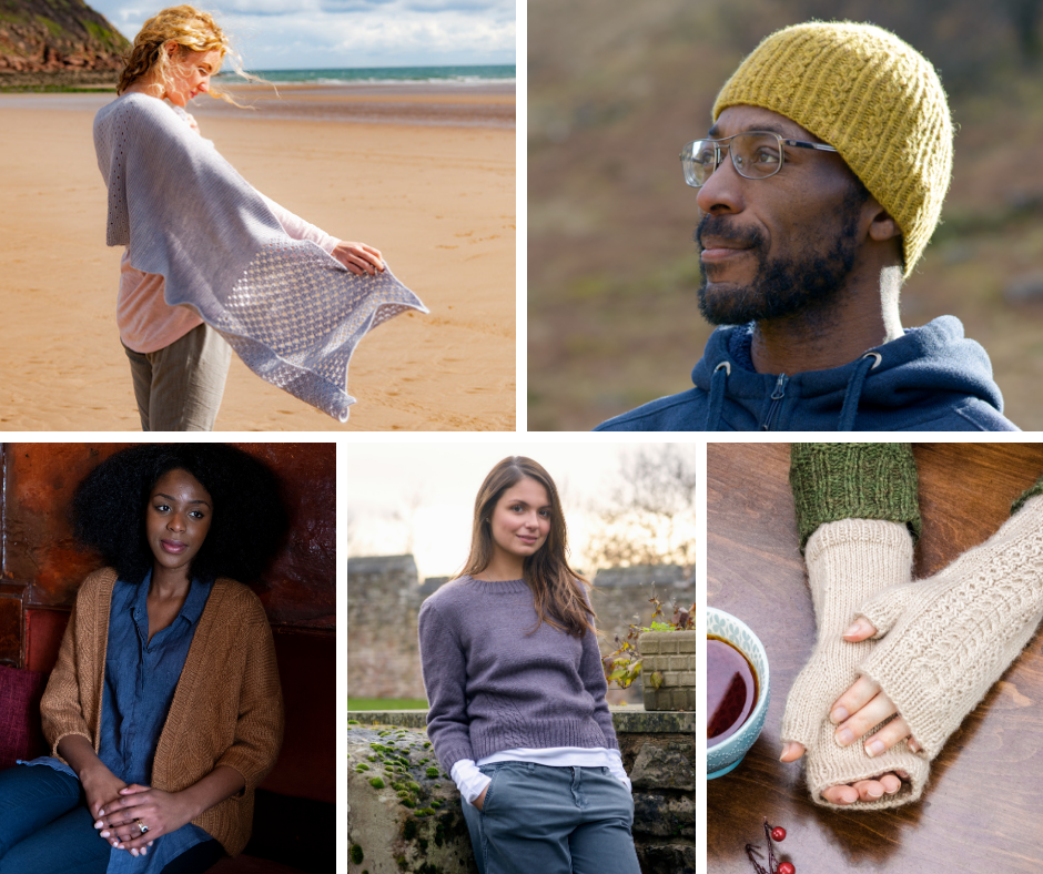 A collage showing a woman wearing a wrap on a beach, a man wearing a cables beanie hat, a pair of cable wristwarmers worn by a woman sitting at a table, a woman leaning on a stone wall wearing a crew neck sweater and a woman sitting in a pub wearing a cosy open cardigan.