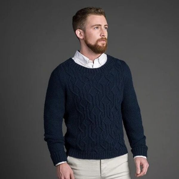 Navy Geometric Cabled Sweater Pattern