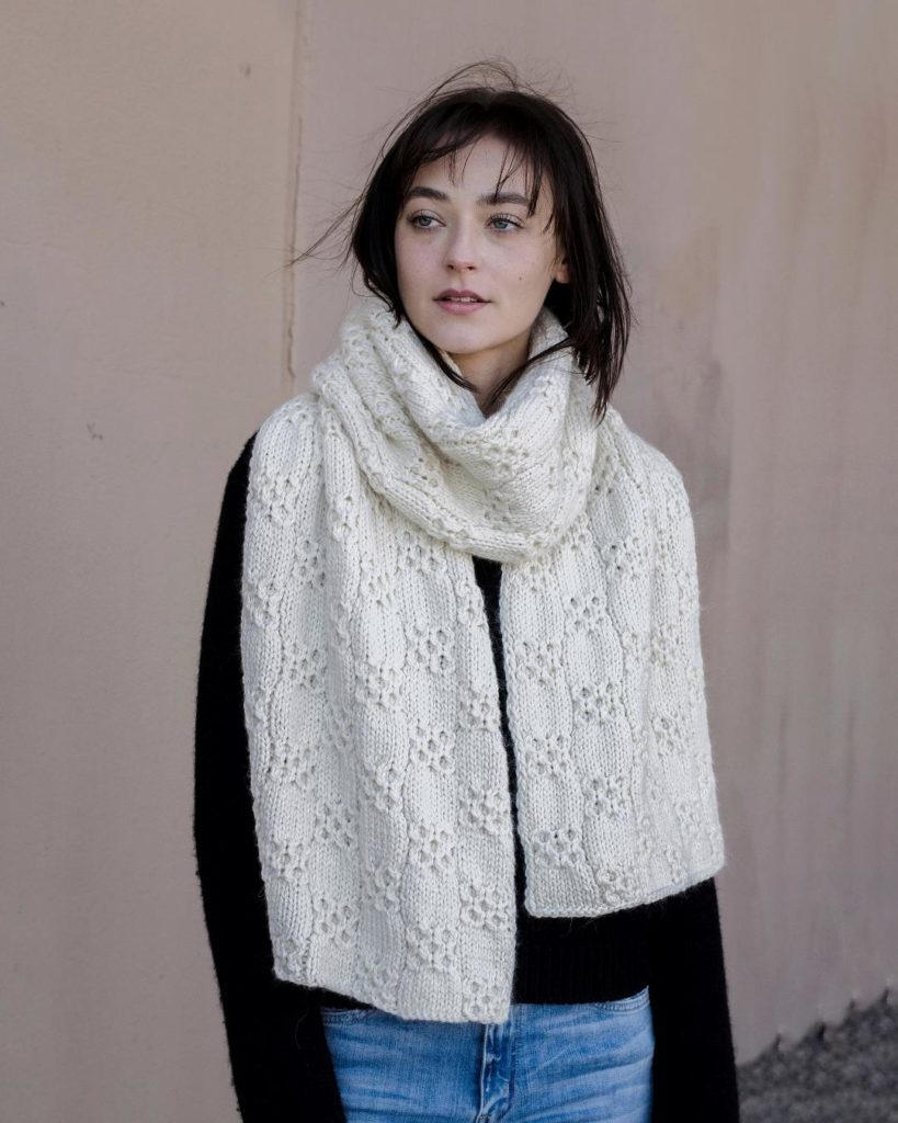 Oversized scarf knitting pattern worn by the designer over a black sweater and jeans. Back to Winter Scarf by Natalya1905