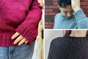 Close up details of the One Sweater DK, including the 2x2 ribbed cuff, neck trim and raglan shaping