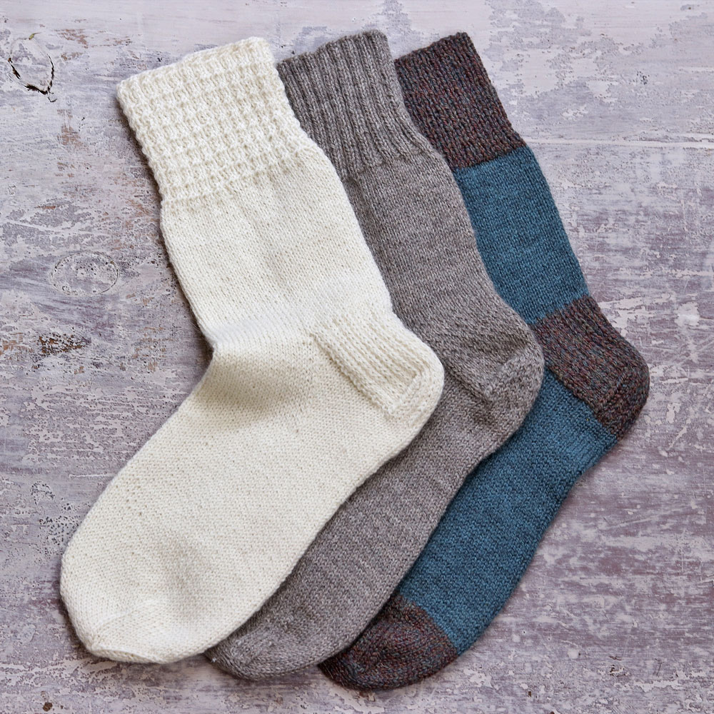 Three socks neatly lined up and overlapping slightly. | How to knit socks