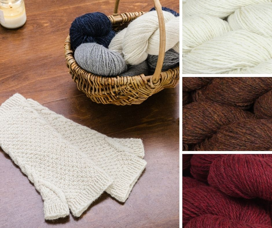Gifts you can make | Plush textured mitts with cables following the line of the thumb on a table next to a basket of yarn.