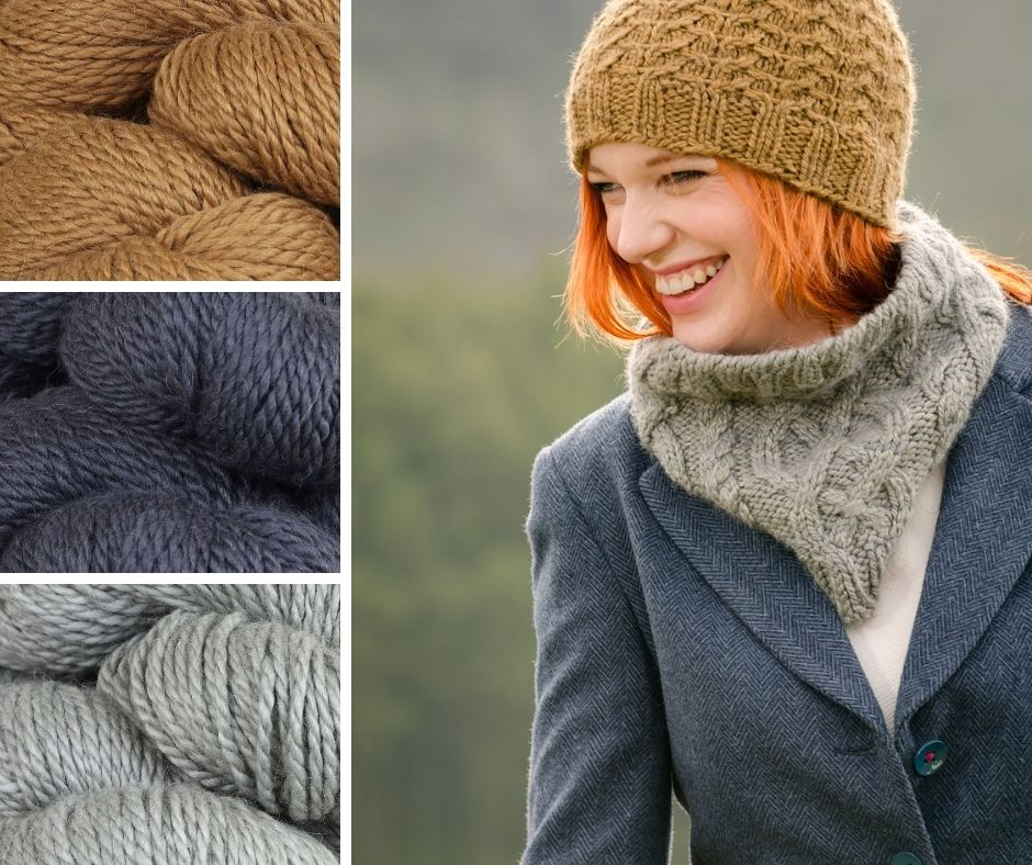 A woman smiling in the fells in the Lake District wearing cabled hat and cowl with a tweed blazer | These are quick gifts you can knit with examples of yarn colours you can choose from. Mustard, Navy and Grey