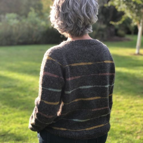 Back view of Oles sweater