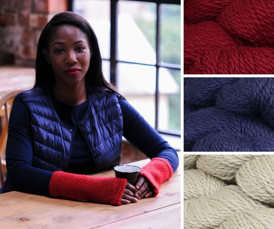 A woman sitting at a table in a cafe with her hands around a coffee cup. She is wearing long red wristwamers | This is a quick gift you can knit