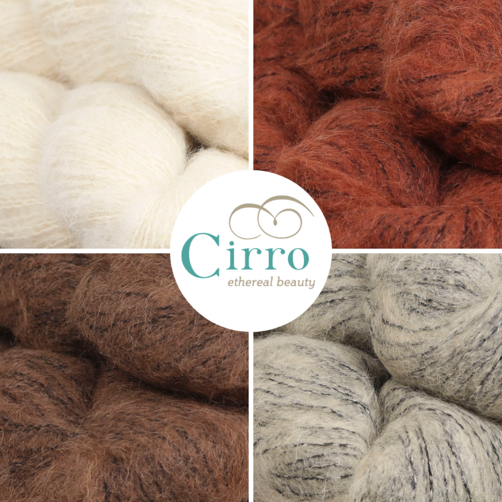 A grid of 4 close ups of Cirro yarn surround a central circle with the yarn logo